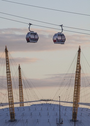 emirates airline cable cars over o2 - credit ice